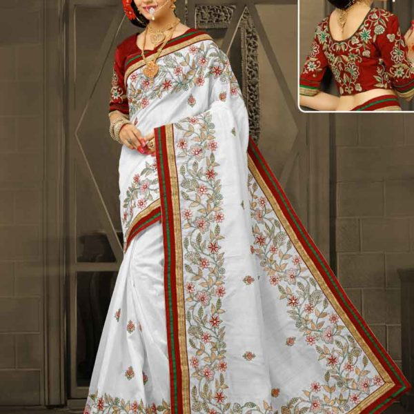Stylish White color Floral Design bhagalpuri Silk Panetar Saree 4259