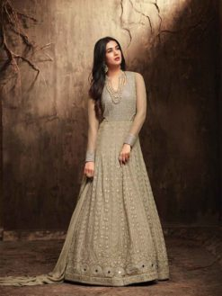 Stunning Coral Reef Color Floor Length Anarkali Salwar Kameez 5705