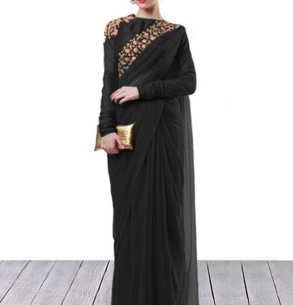 Black embroidered saree for women 153