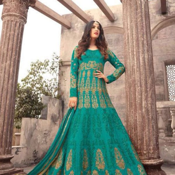Fanciful Green Color Embrodered Floor Length Anarkali Suit 1001
