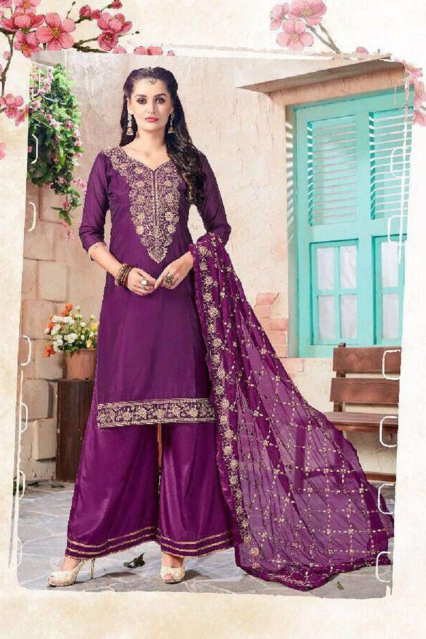 Fancy Purple Color Gota Patti Pattern Pakistani Suit 1002