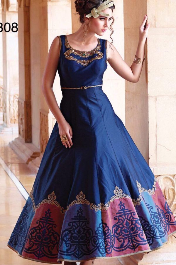 Exclusive Blue Color Embrodered Bhagalpuri Gown 1004