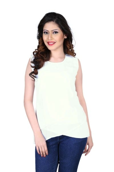 Adorable White Color Georgette Top 1026