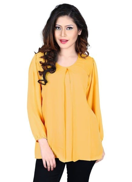 Fanciful Yellow Color Georgette Top 1028
