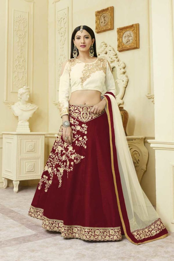 Beautiful Maroon Color Mulberry Silk With Fusing Party Wear Lehenga 12114