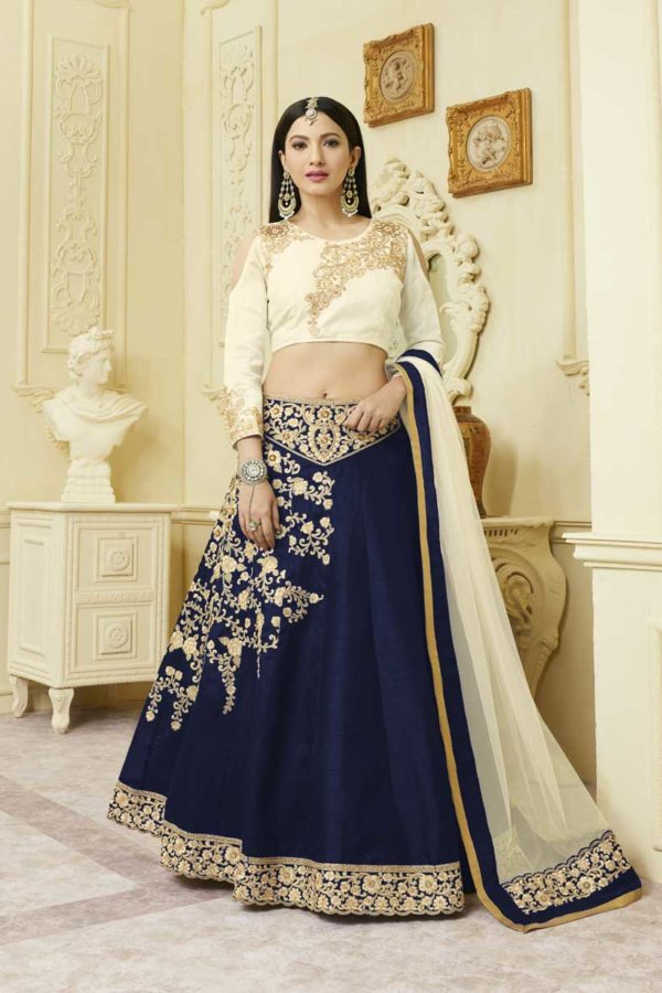 Navy Blue Floral Embrodered Mulberry Silk With Fusing Lehenga 12115