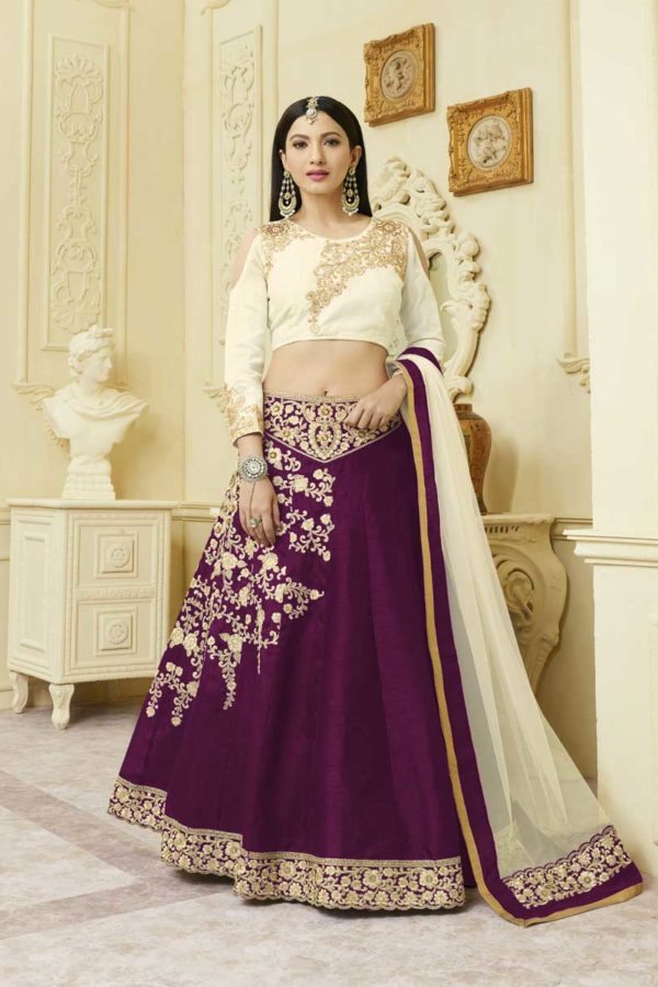 Stunning Purple Color Embrodered Mulberry silk With Fusing Lehenga 12116