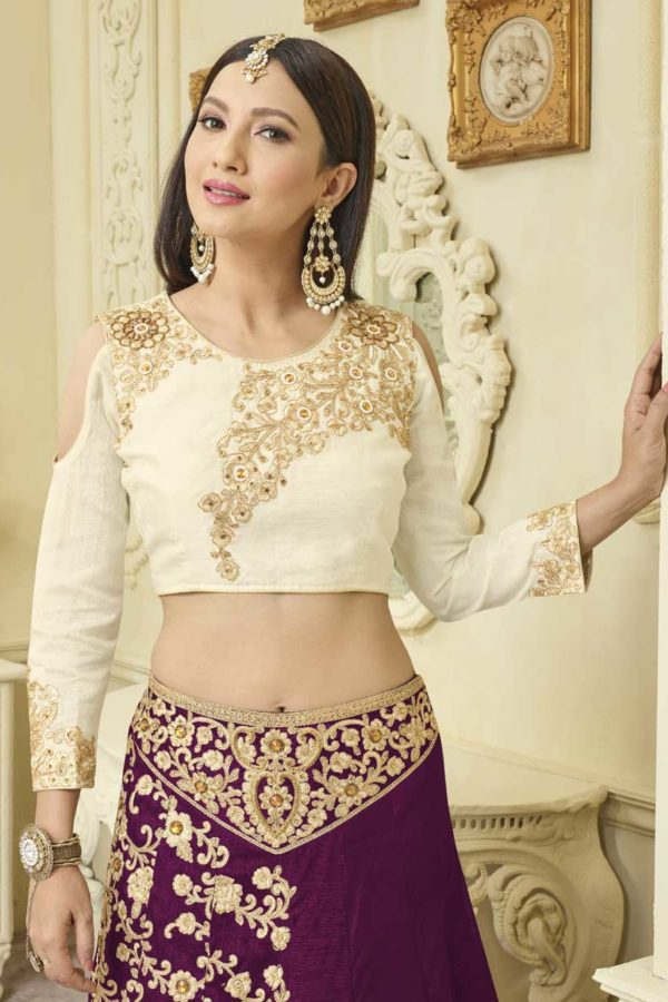 Stunning Purple Color Embrodered Mulberry silk With Fusing Lehenga 12116-A