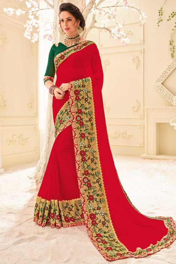 Hot Red Color Party Wear Georgette Saree 32106
