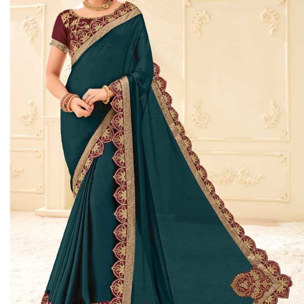 Outstanding Green Color Two Tone Bright Georgette Saree 32109