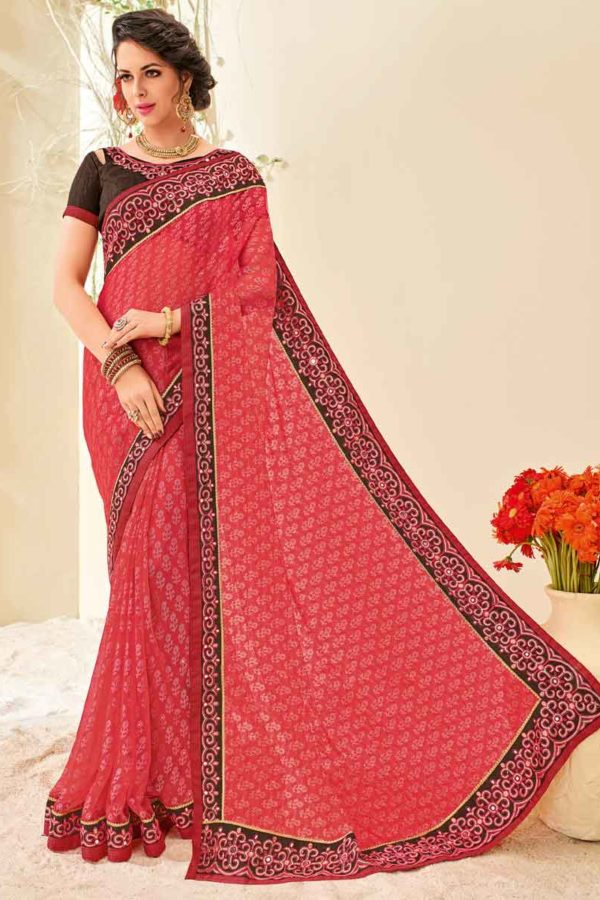 Amazing Pink Color Party Wear Brasso Saree 32111