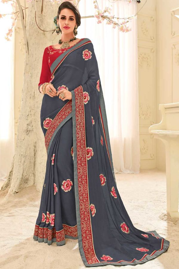 Grey Color Floral Design Patch Embrodery Bright Georgette Saree 32113