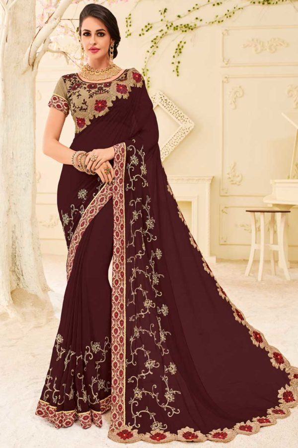Awesome Maroon Color Party Wear Georgette Saree 32117