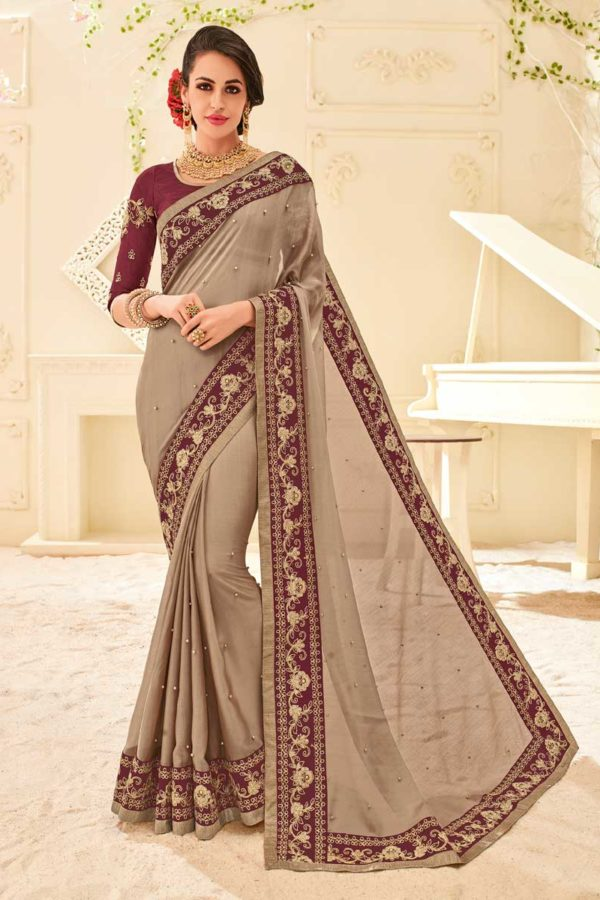 Fanciful Brown Color Two Tone Chiffon Pattern Saree 32122