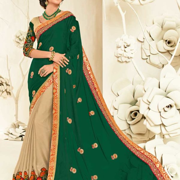 Outstanding Green and Beige Moss Chiffon and Georgette Saree 10445