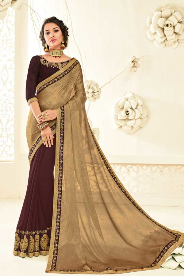 Awesome Brown and Maroon Moss Chiffon and Georgette Saree 10447