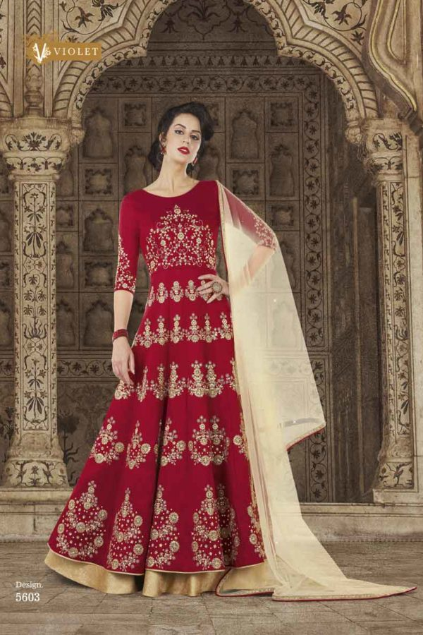 Maroon Color Mullburry Silk Floor Length Anarkali Suit 5603