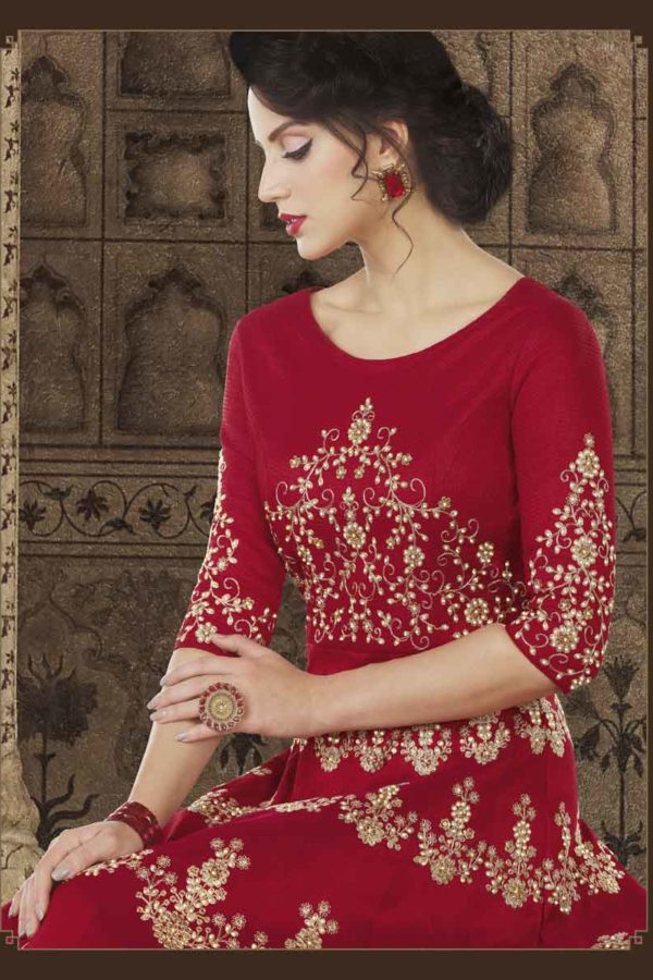 Maroon Color Mullburry Silk Floor Length Anarkali Suit 5603 A
