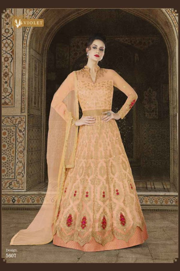 Owesome Peach Color Premium Net Embroidered Anarkali Suit 5607