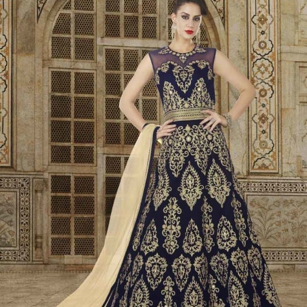 Navy Blue Color Micro Velvet Fabric Embroidered Floor Length Party Wear Anarkali Suit 5611