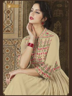 Fanciful Beige Color Modal Slub Satin Fabric Embroidered Floor Length Anarkali Suit 5612 A