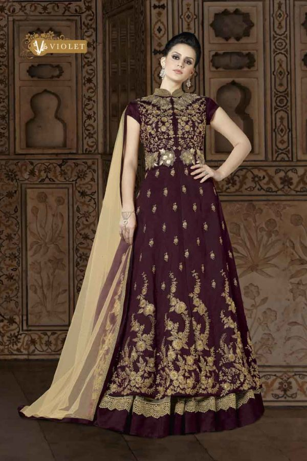 Exclusive Brown Color Floor Length Embrodered Phantom Silk Anarkali Suit 5401 B