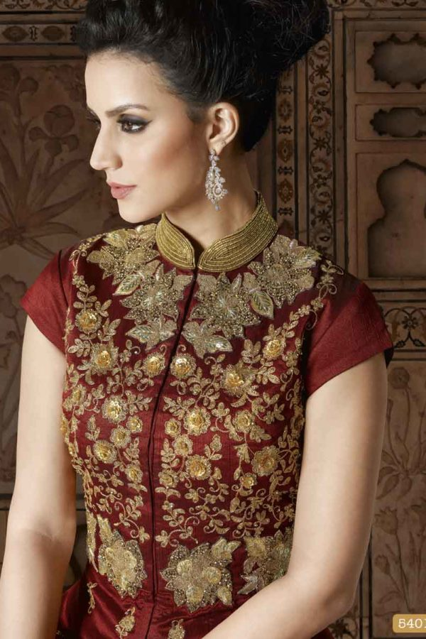 Unique Crown of Thorns Color Floor Length Phantom Silk Anarkali Suit 5401 C 1