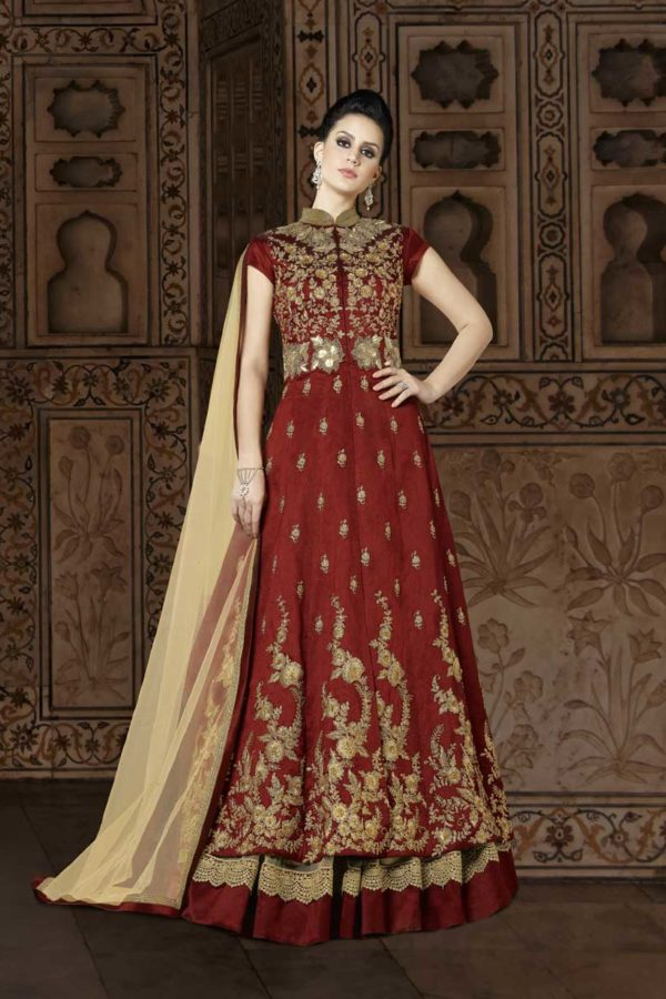Unique Crown of Thorns Color Floor Length Phantom Silk Anarkali Suit 5401 C