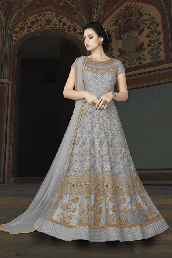 Grey Color Floor Length Premium Net Anarkali Suit 5403 B