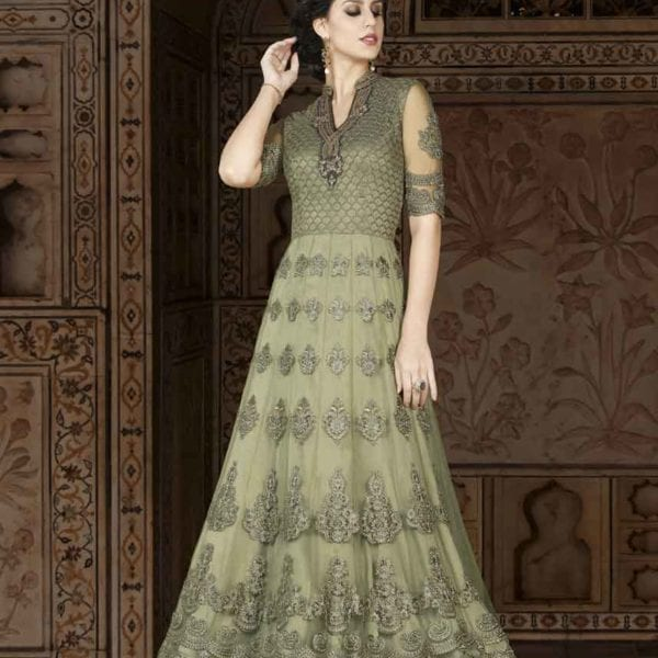 Owesome Taupe Gray Color Floor Length Premium Net Anarkali Suit 5408