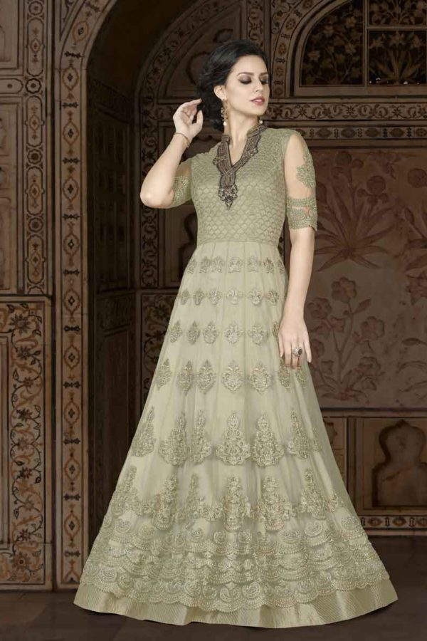 Gorgeous Bison Hide Color Floor Length Premium Net Anarkali Suit 5408 B