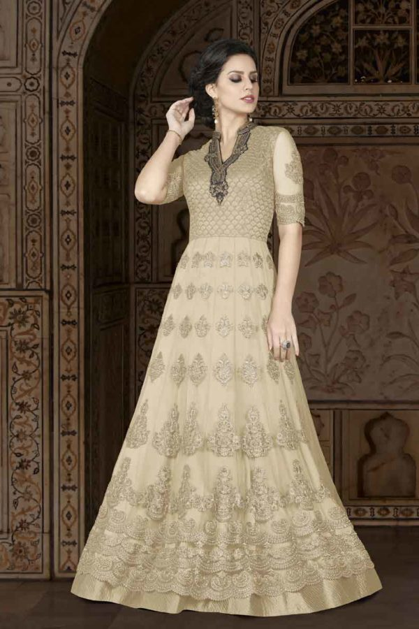 Fancy Bone Color Floor Length Premium Net Party Wear Anarkali Suit 5408 C