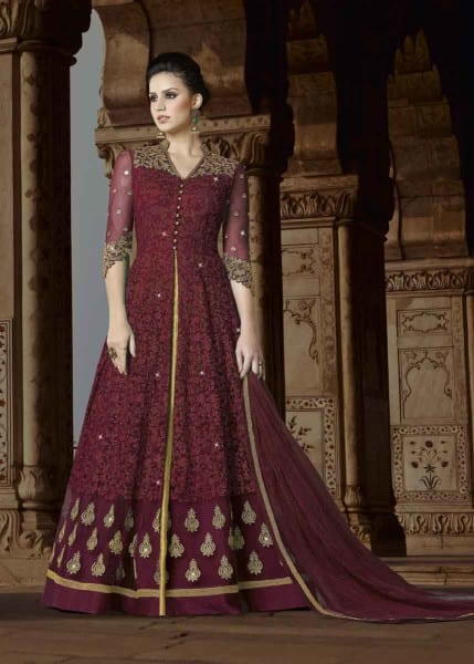 Designer Maroon Color Premium Net Floor Length Party Wear Anrakali Suit 5411 A