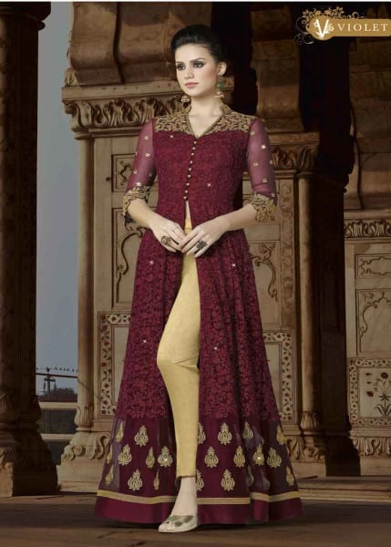 Designer Maroon Color Premium Net Floor Length Party Wear Anrakali Suit 5411 A1
