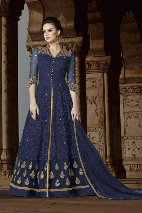 Stylish Blue Color Floor Length Premium Net Party Wear Anarkali Suit 5411 B