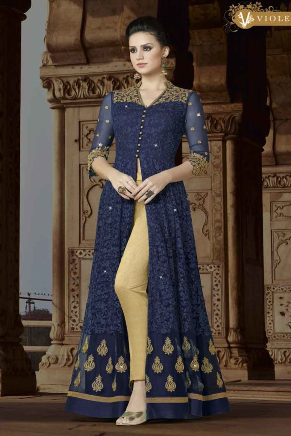 Stylish Blue Color Floor Length Premium Net Party Wear Anarkali Suit 5411 B1