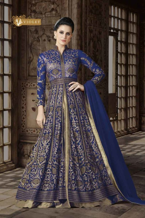 Royal Blue Color Premium Net Floor Length Anarkali Suit 5412 B