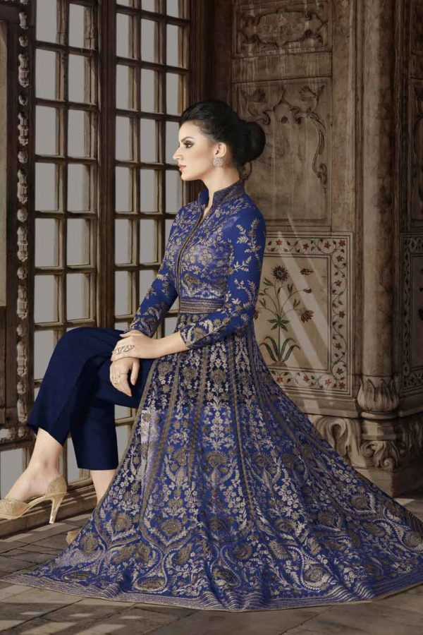 Royal Blue Color Premium Net Floor Length Anarkali Suit 5412 B1