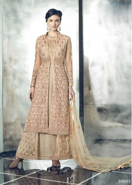Designer Party Wear Heavy Dull Mono Net Gown With Koti 30001