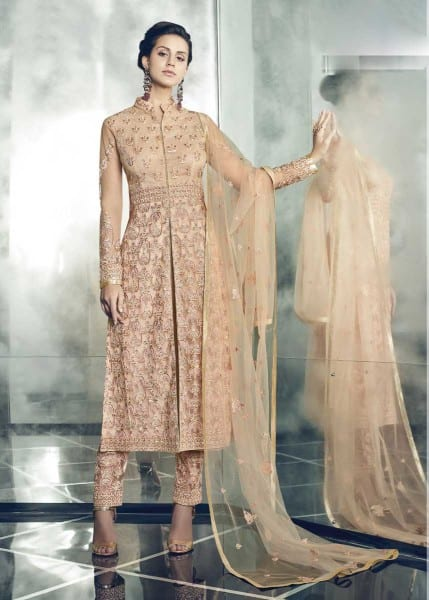 Designer Party Wear Heavy Dull Mono Net Gown With Koti 30001 A
