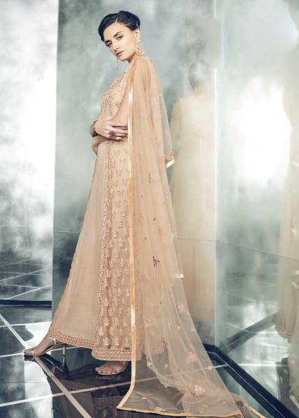 Designer Party Wear Heavy Dull Mono Net Gown With Koti 30001 B