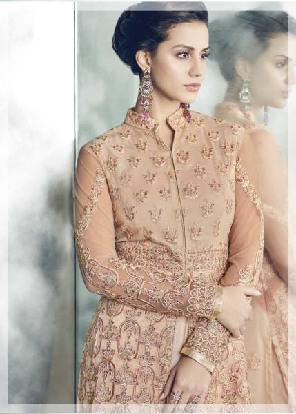 Designer Party Wear Heavy Dull Mono Net Gown With Koti 30001 F