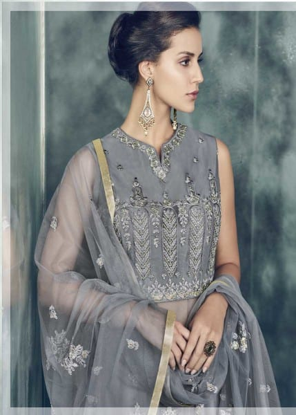 Exclusive Grey Color Party Wear Heavy Dull Mono Net Gown With Koti With Lehenga 30002 A
