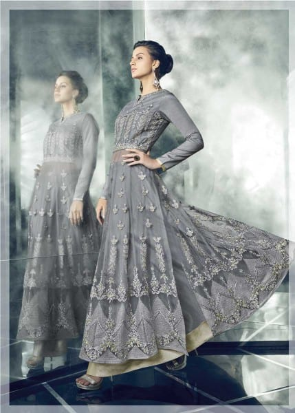 Exclusive Grey Color Party Wear Heavy Dull Mono Net Gown With Koti With Lehenga 30002 B