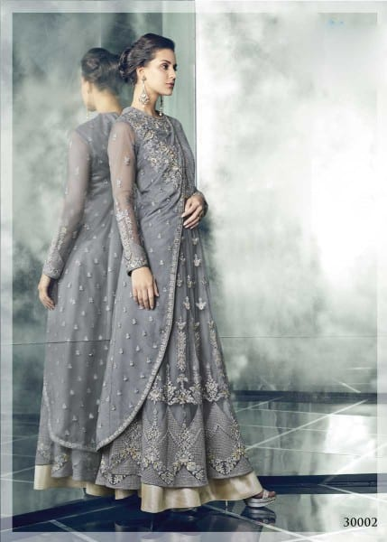 Exclusive Grey Color Party Wear Heavy Dull Mono Net Gown With Koti With Lehenga 30002 C