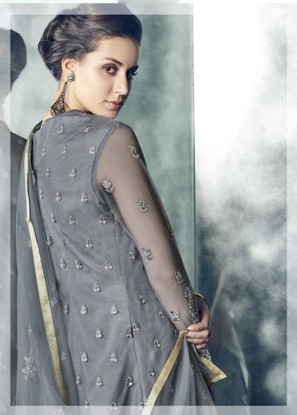 Exclusive Grey Color Party Wear Heavy Dull Mono Net Gown With Koti With Lehenga 30002 E