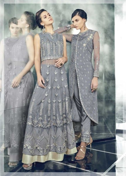 Exclusive Grey Color Party Wear Heavy Dull Mono Net Gown With Koti With Lehenga 30002 F