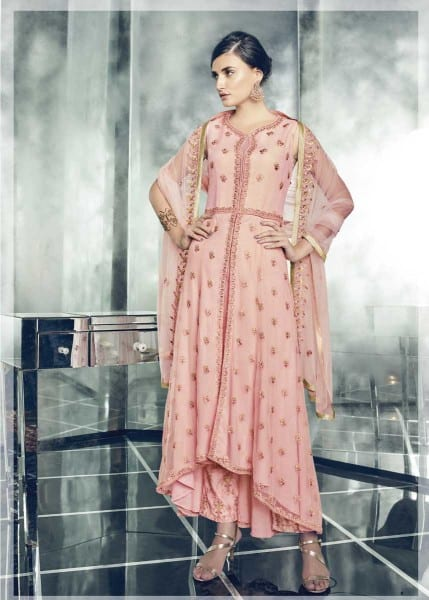 Stunning Pink Color Heavy Dull Mono Net Gown With Koti With Lehenga 30004