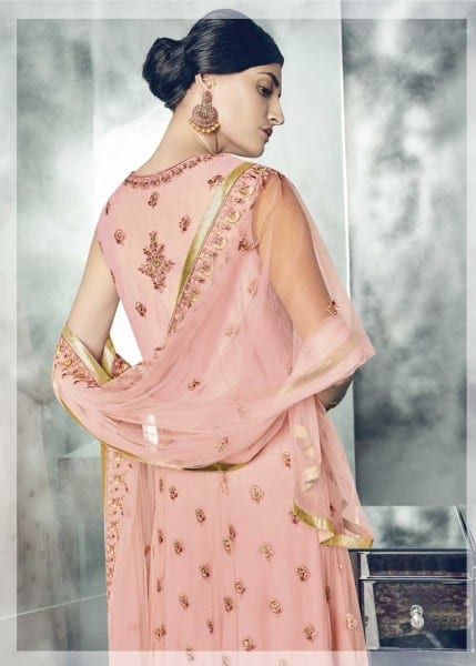 Stunning Pink Color Heavy Dull Mono Net Gown With Koti With Lehenga 30004 A