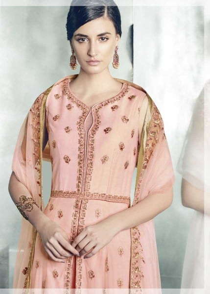 Stunning Pink Color Heavy Dull Mono Net Gown With Koti With Lehenga 30004 C